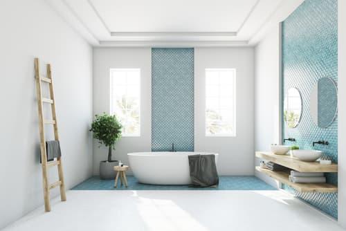 Should the bathroom floor be darker than the walls